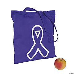 Polyester Purple Awareness Ribbon Tote Bags