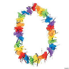 Polyester Rainbow Tinsel Leis