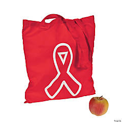 Polyester Red Awareness Ribbon Tote Bags