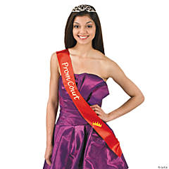 Polyester Red Prom Court Sash