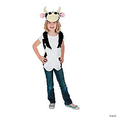 Polyester Slip-On Cow Vest & Hat Costume