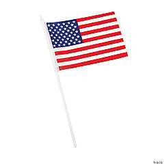 "Polyester Small American Flags on Plastic Sticks - 6"" x 4"""
