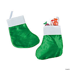 Polyester Small Green Christmas Stockings