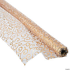 Polyester Victorian Gold Printed Fabric Roll