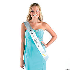 Polyester White Prom Queen Sash