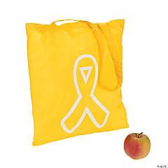 Polyester Yellow Awareness Ribbon Tote Bags
