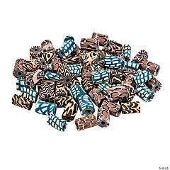 Polymer Clay Animal Print Barrel Beads