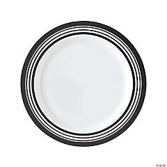 Premium Black & White Striped Plastic Dinner Plates – 25 Ct.