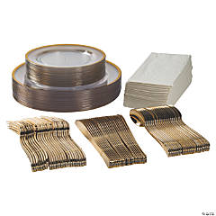 Premium Clear & Gold Plastic Tableware Kit for 24 Guests