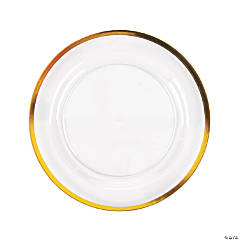 Premium Clear Plastic Dinner Plates with Gold Trim - 25 Ct.
