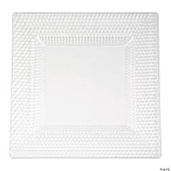 Premium Clear Square Plastic Dinner Plates with Honeycomb Border - 10 Ct.
