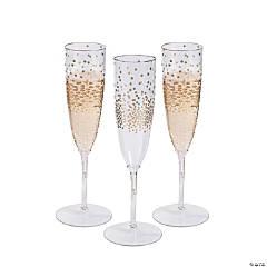 Premium Gold Dot Champagne Flutes
