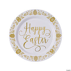 Premium Gold Happy Easter Plastic Dinner Plates - 10 Ct.
