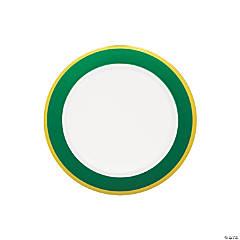 Premium Green & White Plastic Dessert Plates with Gold Border - 10 Ct.