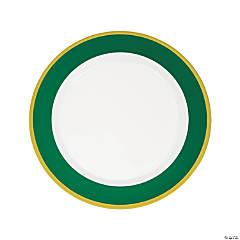 Premium Green & White Plastic Dinner Plates with Gold Border - 10 Ct.