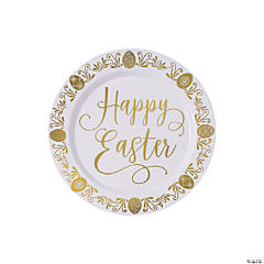Premium Happy Easter Gold Plastic Dessert Plates - 20 Ct.