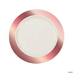 Premium Ivory Plastic Dinner Plates with Rose Gold Trim - 25 Ct.