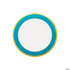 Premium Light Blue & White Plastic Dessert Plates with Gold Border - 10 Ct.