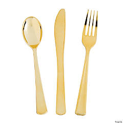 Premium Metallic Gold Plastic Cutlery Sets - 24 Ct.