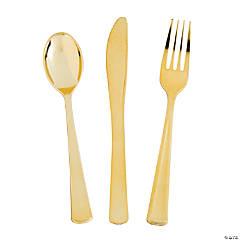 Premium Metallic Gold Plastic Cutlery Sets - 24 Ct.