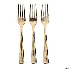 Premium Metallic Gold Plastic Forks - 24 Ct.