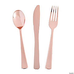 Premium Metallic Rose Gold Plastic Cutlery Sets - 24 Ct.