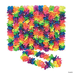 Premium Neon Rainbow Large Petal Flower Leis