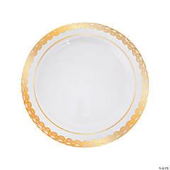 Premium Plastic Ornate Gold Trim Dinner Plates