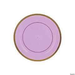 Premium Plastic Purple Dessert Plates with Gold Trim