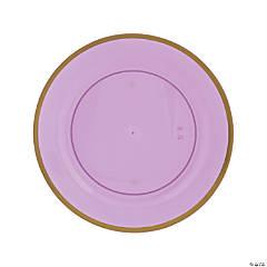 Premium Plastic Purple Dinner Plates with Gold Trim