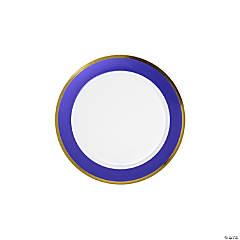 Premium Purple & White Plastic Dessert Plates with Gold Border - 10 Ct.