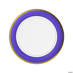 Premium Purple & White Plastic Dinner Plates with Gold Border - 10 Ct.