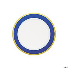 Premium Royal Blue & White Plastic Dessert Plates with Gold Border - 10 Ct.