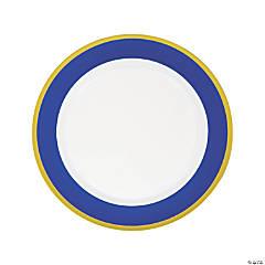 Premium Royal Blue & White Plastic Dinner Plates with Gold Border - 10 Ct.