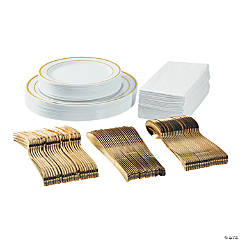 Premium White & Gold Plastic Tableware Kit for 24 Guests
