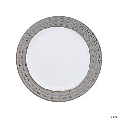 Premium White Plastic Dinner Plates with Hammered Pewter Design Trim - 25 Ct.