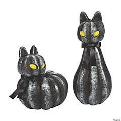 Pumpkin Black Cat Light-Up Halloween Decorations