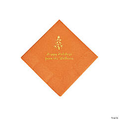 Pumpkin Christmas Tree Personalized Napkins with Gold Foil – Beverage