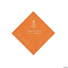 Pumpkin Christmas Tree Personalized Napkins with Silver Foil – Beverage