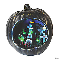 Pumpkin Lamp with Flying Witch Halloween Decoration