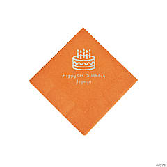 Pumpkin Orange Birthday Cake Personalized Napkins with Silver Foil - Beverage