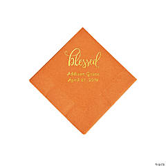 Pumpkin Orange Blessed Personalized Napkins with Gold Foil - Beverage