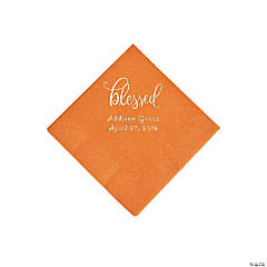 Pumpkin Orange Blessed Personalized Napkins with Silver Foil - Beverage