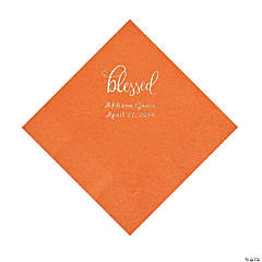 Pumpkin Orange Blessed Personalized Napkins with Silver Foil - Luncheon
