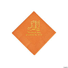 Pumpkin Orange Cowboy Boots Personalized Napkins with Gold Foil - Beverage