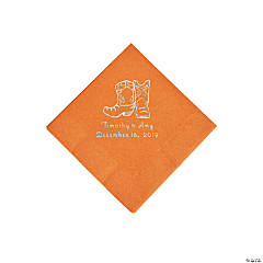 Pumpkin Orange Cowboy Boots Personalized Napkins with Silver Foil - Beverage