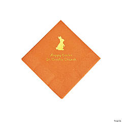 Pumpkin Orange Easter Bunny Personalized Napkins with Gold Foil - Beverage