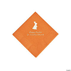Pumpkin Orange Easter Bunny Personalized Napkins with Silver Foil - Beverage
