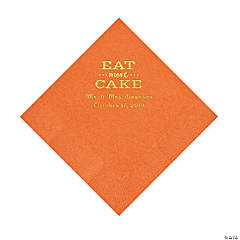 Pumpkin Orange Eat Cake Personalized Napkins with Gold Foil - Luncheon