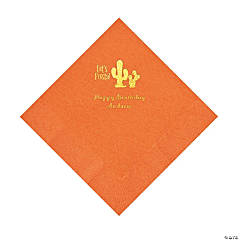 Pumpkin Orange Fiesta Personalized Napkins with Gold Foil - Luncheon